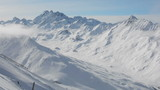 Snow covered mountain landscape Ischgl Tirol tracking shot