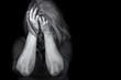 Leinwandbild Motiv Young woman crying depression violence