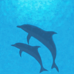 Underwater background with dolphins.