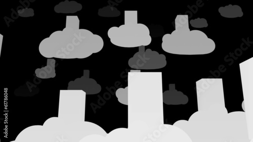 Cloud Servers Silhouettes Computing Creative Concept