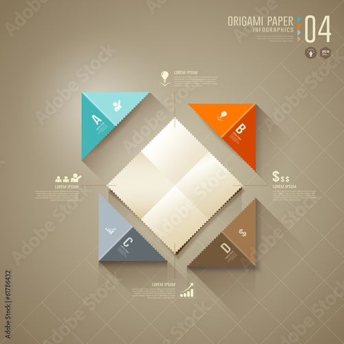 Origami colorful paper cut Infographics, for business design