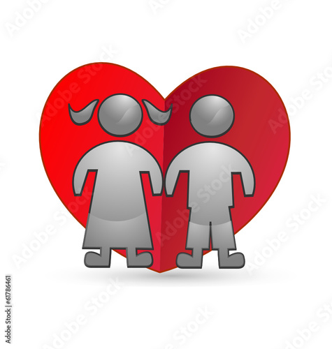 Children and heart icon logo vector