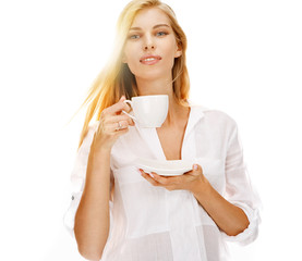 Beautiful woman drinking coffee
