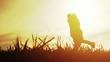 Girl Running Toward Man Love Joy Concept Sunset