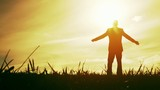 Man Worship Pose Success Freedom Joy Nature Sunset Religion
