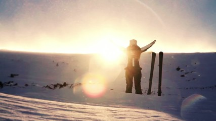 Winter Praise Worship Pose Woman Enjoying Mountain Beauty