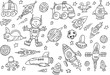 Cute Space Sketch Doodle Vector Set