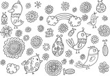 Birds and Flowers Spring Doodles Vector Illustration Set