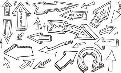 Groovy Doodle Sketch Arrow Design Vector Set