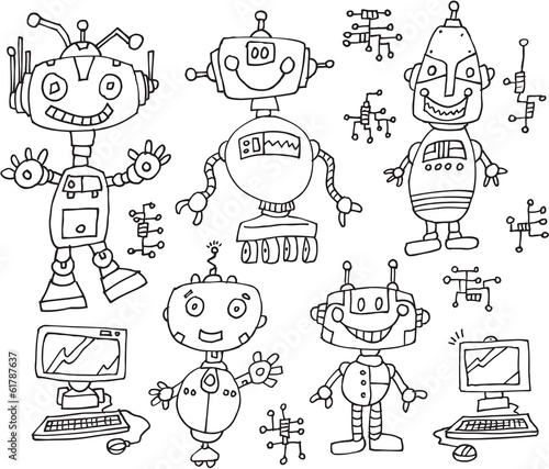 Robot Computer Technology Doodles Vector Illustration Set