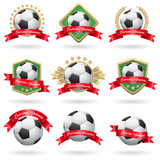 Set of soccer labels and emblems