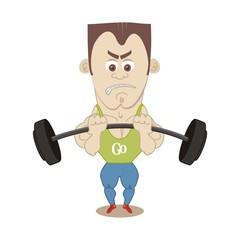 shakes athlete biceps barbell