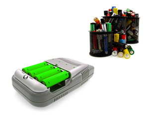 Charger and group  of aa batteries