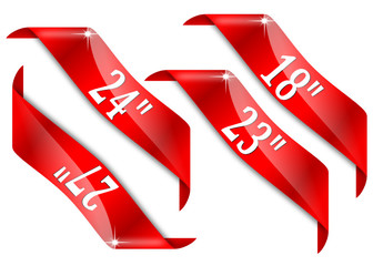 Red corners with signs for diagonal monitor screen - vector