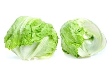 Two lettuce iceberg, isolated on white