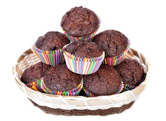 Basket with Muffins for Party