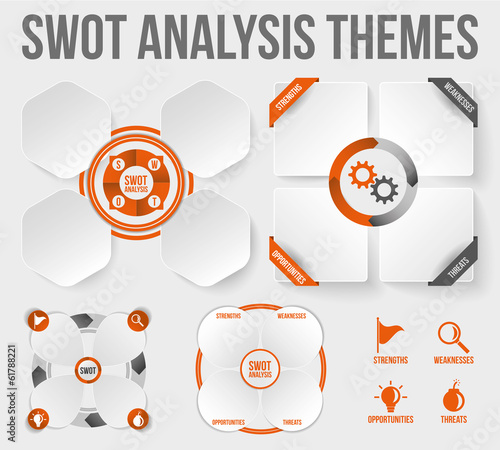 SWOT Analysis Templates. Scalable, texts outlined.