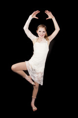 young girl dance hands up one foot up