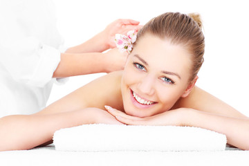 Happy woman having massage