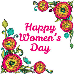 Womans day vector greeting card with roses