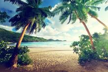 zachód słońca na plaży, Mahe Island, Seszele