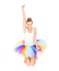 Jumping woman in ballerina skirt