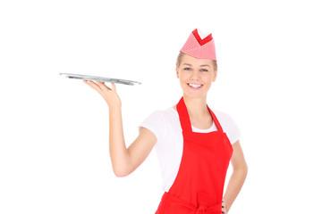 Happy waitress with a tray