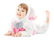 baby in easter bunny costume, kid girl as hare rabbit