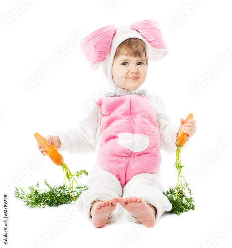 baby in easter bunny costume with carrot, kid girl rabbit hare