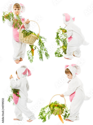 baby in easter bunny costume, carrot basket, cild girl rabbit