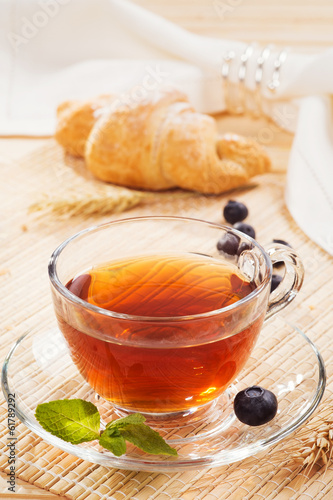 Cup of tea and a croissant for breakfast