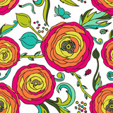 Ranunculus-rose flowers seamless vector pattern
