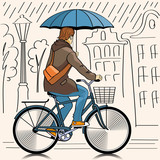 cyclist in rainy day