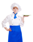 chef woman holding plate on her hand