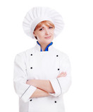 Specialist chef woman with crossed hands