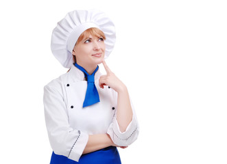 Thinking chef woman on white background
