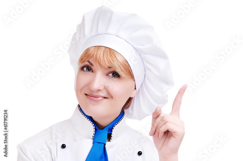 Happy chef making a gesture with her hand