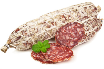 salami and basil leaves