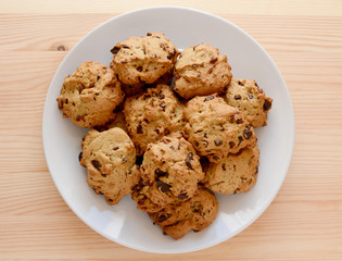 Plate of pecan and chocolate chip cookies