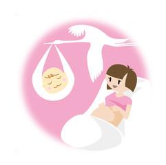 妊婦とコウノトリ