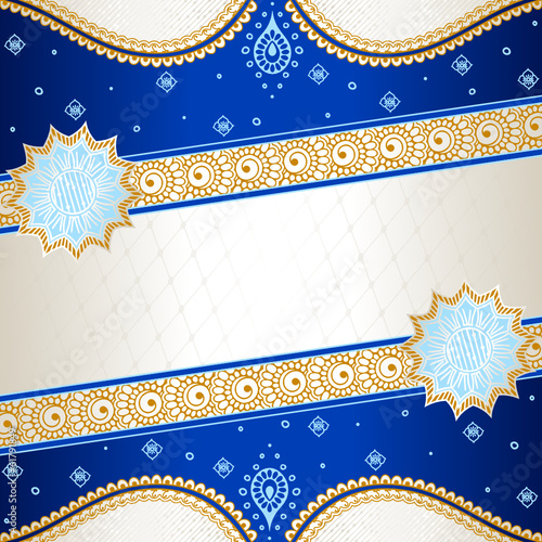 Vibrant blue banner inspired by Indian mehndi designs