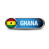 Ghana flag button on a white background