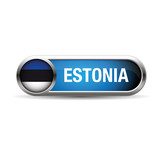 The Estonian flag in the form of a glossy icon.