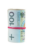 Polish banknotes of 100 PLN rolled with rubber