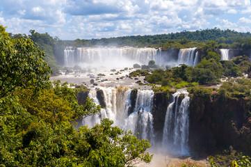 Awesome Panorama view of Iguassu Falls, waterfall in Brazil