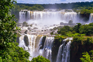 Beautiful cascade of waterfalls. Iguassu falls in Brazil