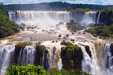 Cascade of waterfalls. Iguassu falls or Iguazu Falls in Brazil
