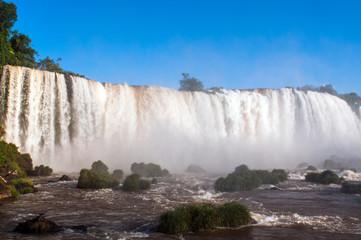 Closeup view of Iguassu Falls in Brazil