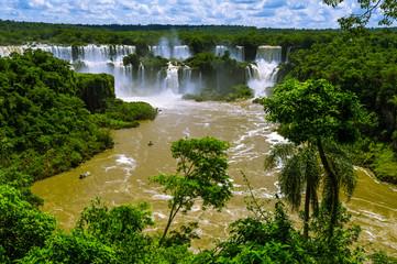 Iguazu Falls or Iguassu Falls in Brazil. Cascade of waterfalls i