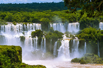 Iguazu Falls or Iguassu Falls in Brazil. Cascade of waterfalls